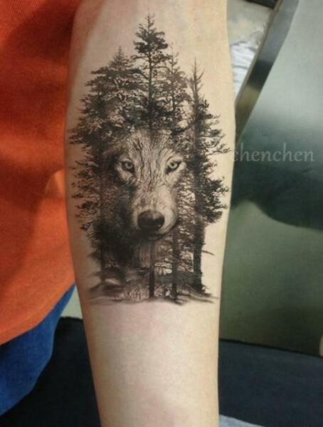 b647fd63a68b2 Waterproof Temporary Tattoo Wolf and Trees for sale online | eBay