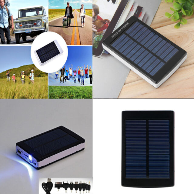 30000/50000/80000mAh Solar Panel Power Bank LED Dual USB Battery Charger Black