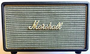 MARSHALL-ACTON-POWERFUL-BLUETOOTH-OR-MINI-PLUG-IN-SPEAKER-BLACK-WITH-GOLD-LOGO