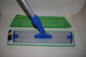 Balai de lavage a plat trapeze 40 cm scratch frange 40cm microf manche alu ebay - Balai a frange ...