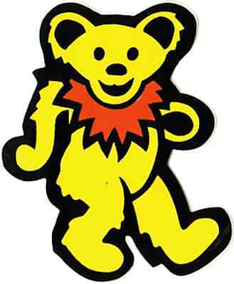 Yellow and Orange Dancing Bear Hippy Hippie Happy Cute 60s Decal 11345 Sticker