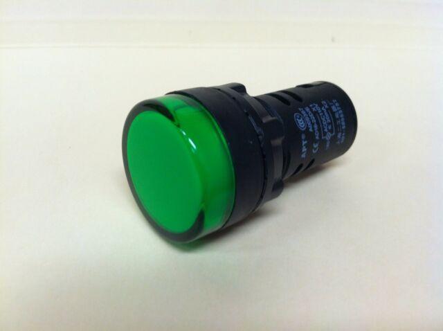 22MM LED Pilot Indicator Light 120v 115v 110v AC/DC GREEN