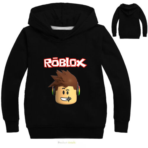 Roblox Girl Boy Casual Hooded Tops Cartoon T-shirt Kids Hoodie Jumper Age 2-10Y