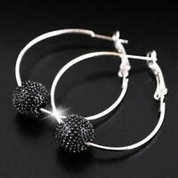 Black Silver Tone Shamballa Style Bead 1 Row Hoop Earrings 4cm - NEW!!