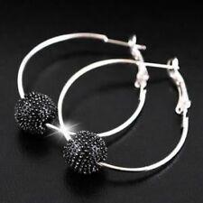 Black Silver Tone Shamballa Style Bead 1 Row Hoop Earrings 4cm - NEW!!