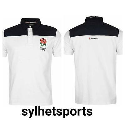 Embroidered Badge RFU England Rugby Men/'s Long Sleeve Jersey// Polo Shirt