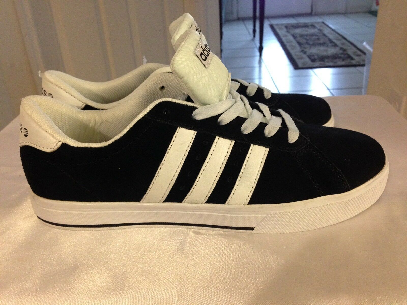 Adidas NEO Label Men's Black White Suede Ortholite 3 Striped Sneakers Size 8.5