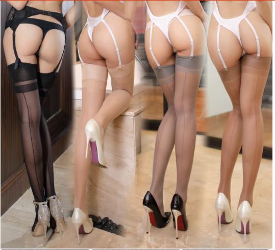 Damen Strümpfe Rücknaht Effekt Sexy Lingerie Dünn Transparent Seide Höschen Hose
