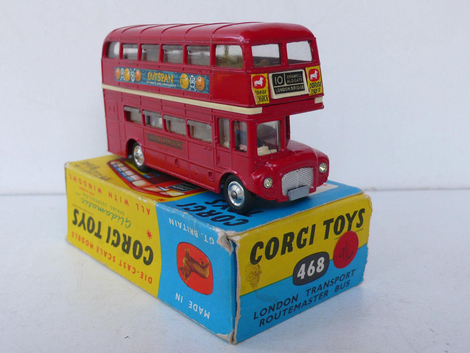 CORGI  TOYS  LONDON TRANSPORT ROUTEMASTER BUS   REF 468  TRÈS BON ÉTAT  BOITE D'O  magasin d'usine