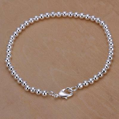 Fashion 925 Silver Plated 4mm Beads String Chain Bracelet Bangle Mens Jewelry