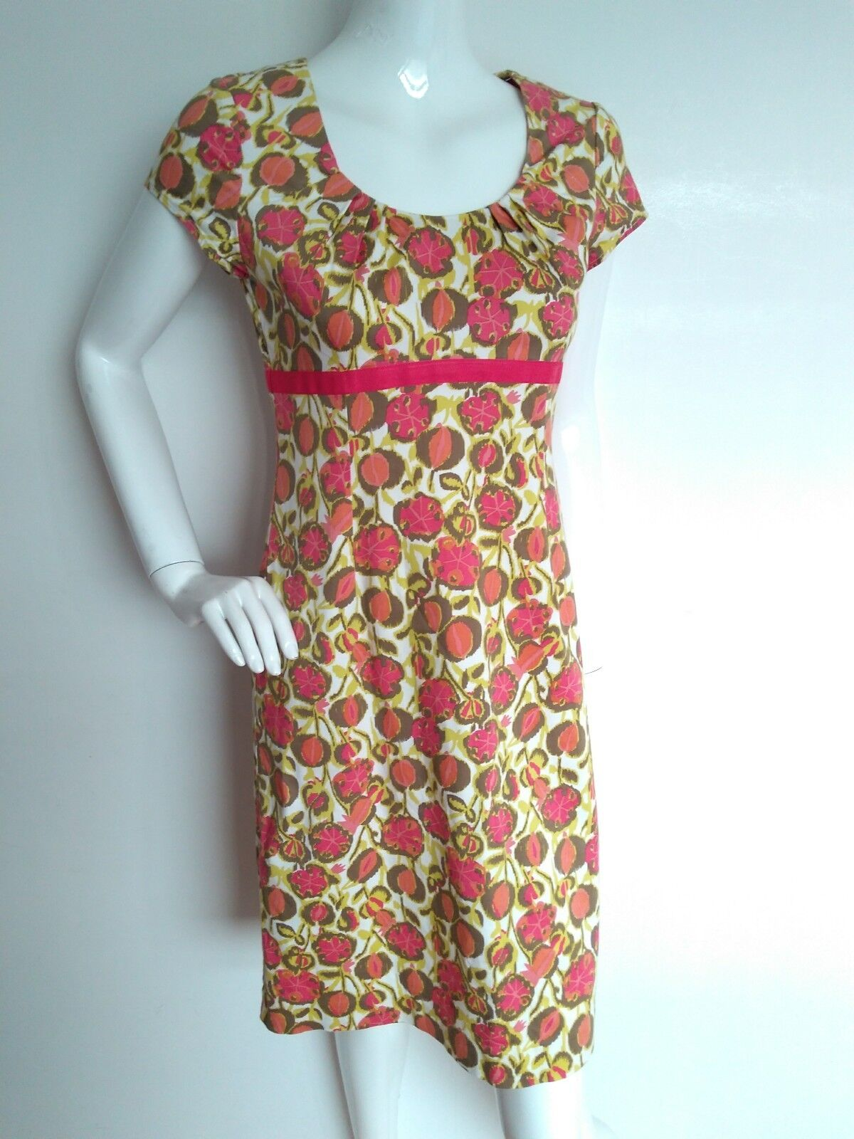 BODEN print cotton shift dress size 12L --USED ONCE-- short sleeve knee length