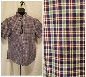 Roundtree-amp-Yorke-Men-039-s-Size-L-Large-Blue-Green-Plaid-Short-Sleeve-Slim-Fit-Shirt