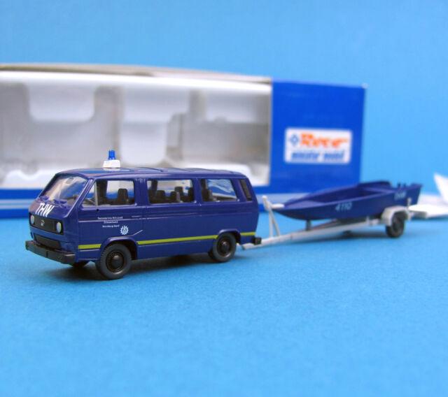 Roco H0 1730 Set VW T3 + BOOT Anhänger Zille THW Technisches Hilfswerk 1:87 HO