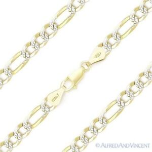 5mm-Figaro-Pave-Link-925-Sterling-Silver-amp-14k-Yellow-Gold-Italy-Chain-Bracelet