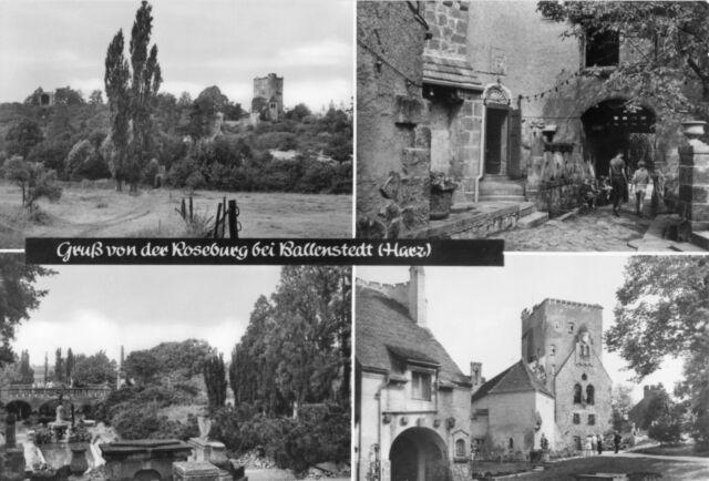 AK, Ballenstedt am Harz, Gruß von der Roseburg, vier Abb., 1983