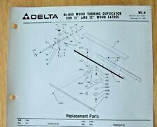 Delta 11 12 Wood Lathes Wood Turning Duplicator Illustrated Parts List Wl 4