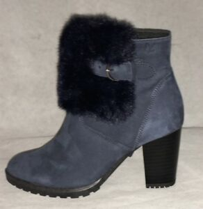 9f9965d8d4f Details about NEW!..CAPRICE NAVY NUBUCK LEATHER ANKLE BOOTS WITH FAUX FUR  TRIM & BUCKLE DETAIL