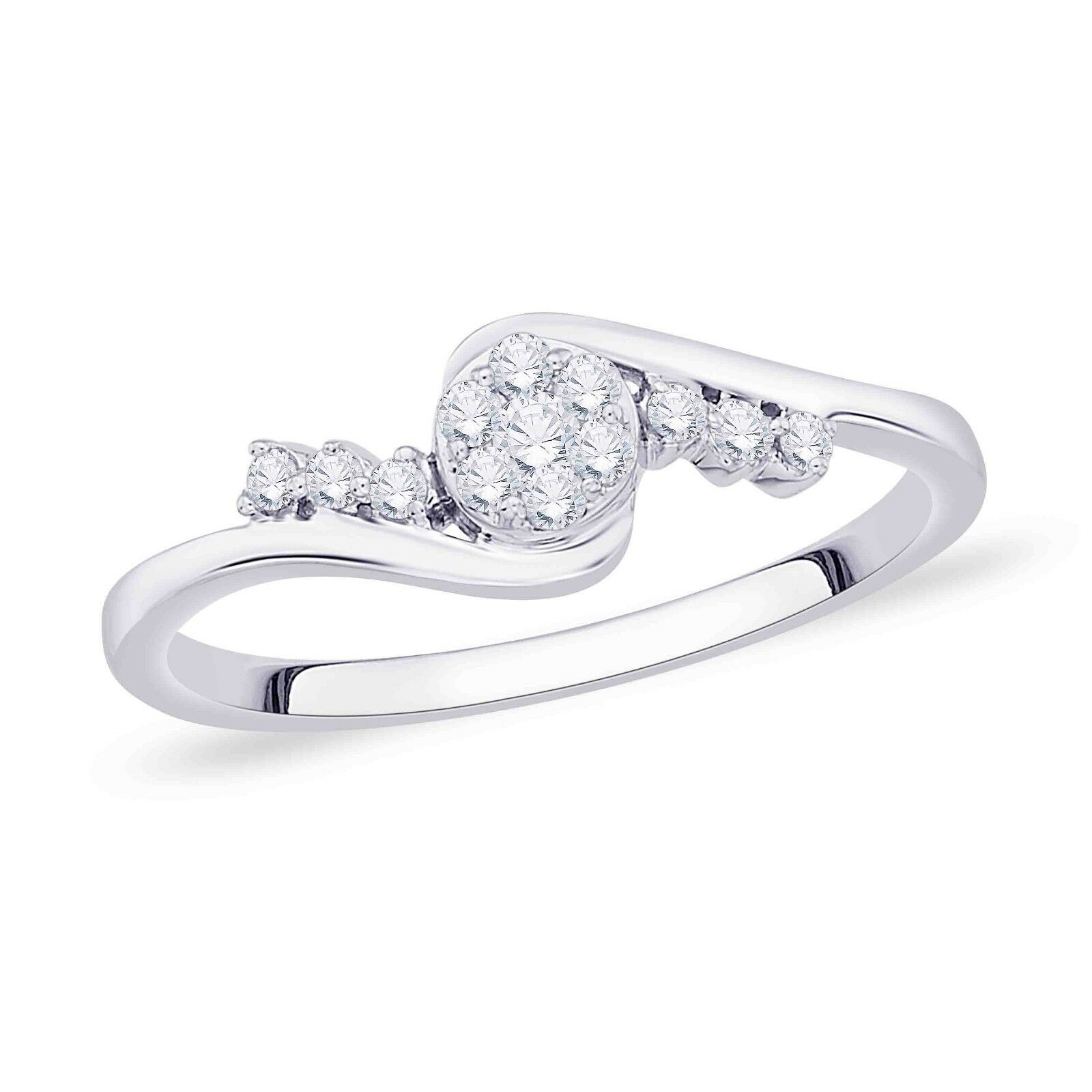 18KT White gold Diamond Studded Ring 0.18 Cts