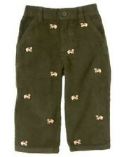 Gymboree Infant Boy 12-18 Months Grizzly Lake Dark Green Corduroy Bear Pants NEW