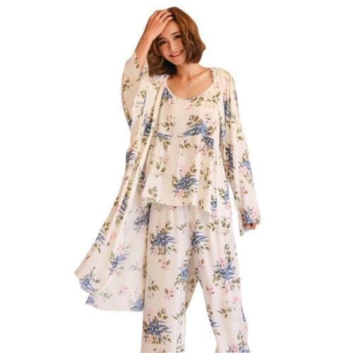 Details about  /3pcs Long Sleeve Nightwear Loose Women Outwear Trousers Vest Flower Pajamas Set