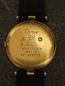 Montre Cartier Vermeil Argent 925/1000 Plaqué Or 18K Wrist Watch Cartier