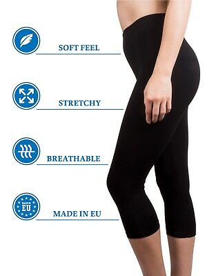 Womens 3//4 Leggings High Waist Cropped Stretchable Stretchy Viscose Yoga Pants