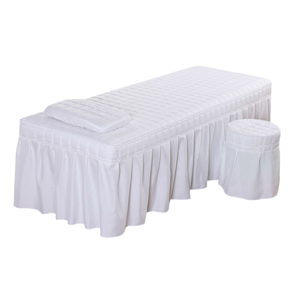 Massage Table Skirt Sheet Pillowcase Stool Cover Beauty Bed Linen White_S