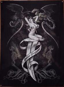 Placa-Metal-Rock-Vintage-Pin-Up-Tatuaje-Love-Dagger-40-X-30CM