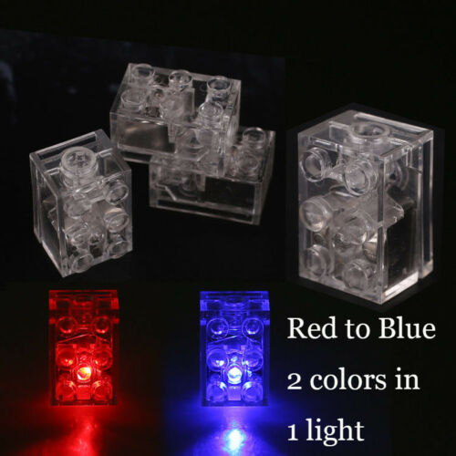 5 x LED LUNAR LIGHTS compatible with LEGO Bricks BLUE /& RED FREE AXLE!!!