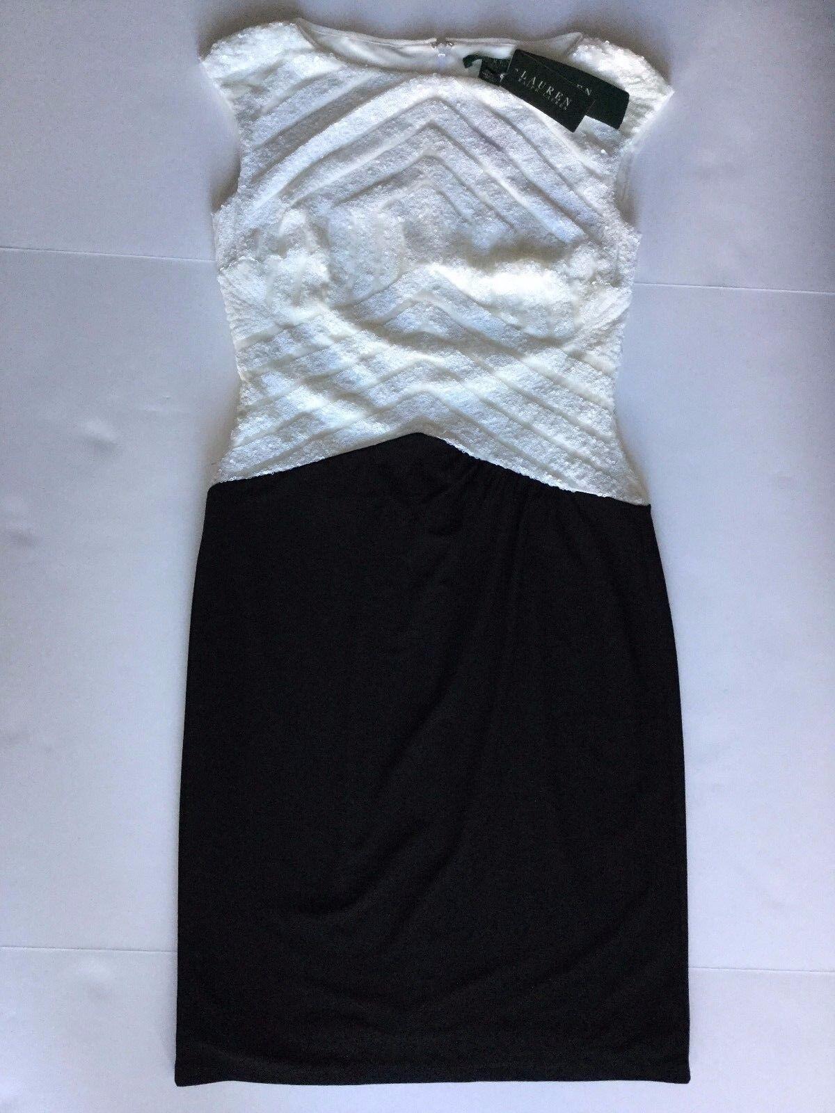 Nwt Lauren Ralph Lauren Sz2 Pailletten Ärmelloses Partykleid Schwarz Weiß   190