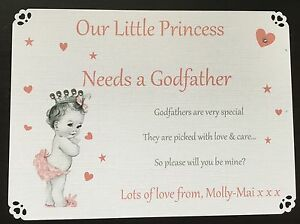 Godparents Card Godfather Personalised Will You Be My Godmother