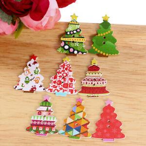 50Pcs-Craft-Scrapbooking-Sewing-Santa-Claus-Deer-Wooden-Christmas-Buttons-2Hole