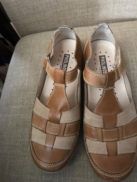 e4c26596263a PIKOLINOS Leather Weave Design Tan Brown Flats Womens Shoes Size 37 ...
