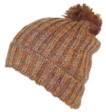 D&Y Womens Cuffed Knit Winter Beanie Hat W/Pom Pom, Cold, Snow #753 Brown/Rust