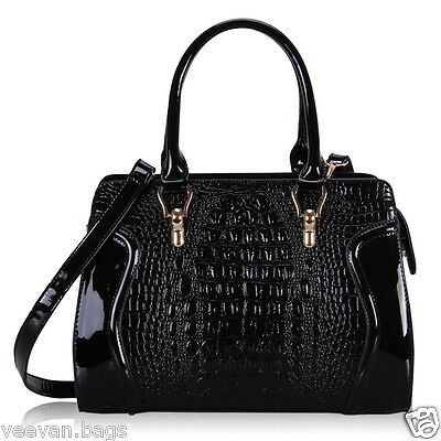 Excellent Women Patent Leather Handbag Shoulder Bag Satchel Crocodile Nice Gift