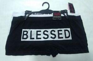 NEW-Womens-Boyshort-panties-plus-size-3X-too-blessed-black-white-2-pack-Z1