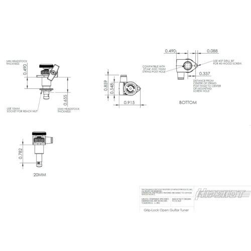 BLACK NEW Hipshot Grip-Lock Open-Gear TUNERS w// Keystone Buttons D04 Set 3x3
