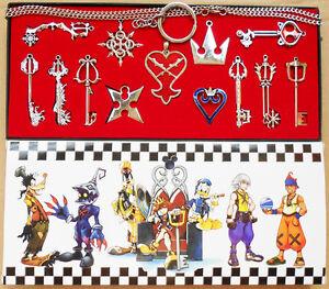 13pcs-Set-Kingdom-Hearts-II-KEY-BLADE-Necklace-Pendant-Keyblade-Keychain-Silver
