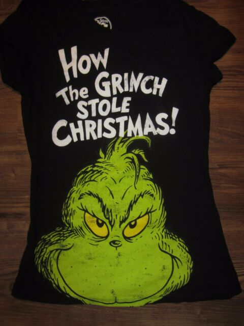 b3b1ae689 Dr Seuss How the Grinch Stole Christmas Youth T-shirt, Black, Size L