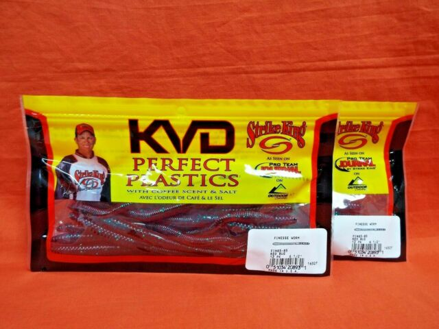 Closeout for sale online Strike King KVD Finesse Worm Red Bug 6.5in 12pk