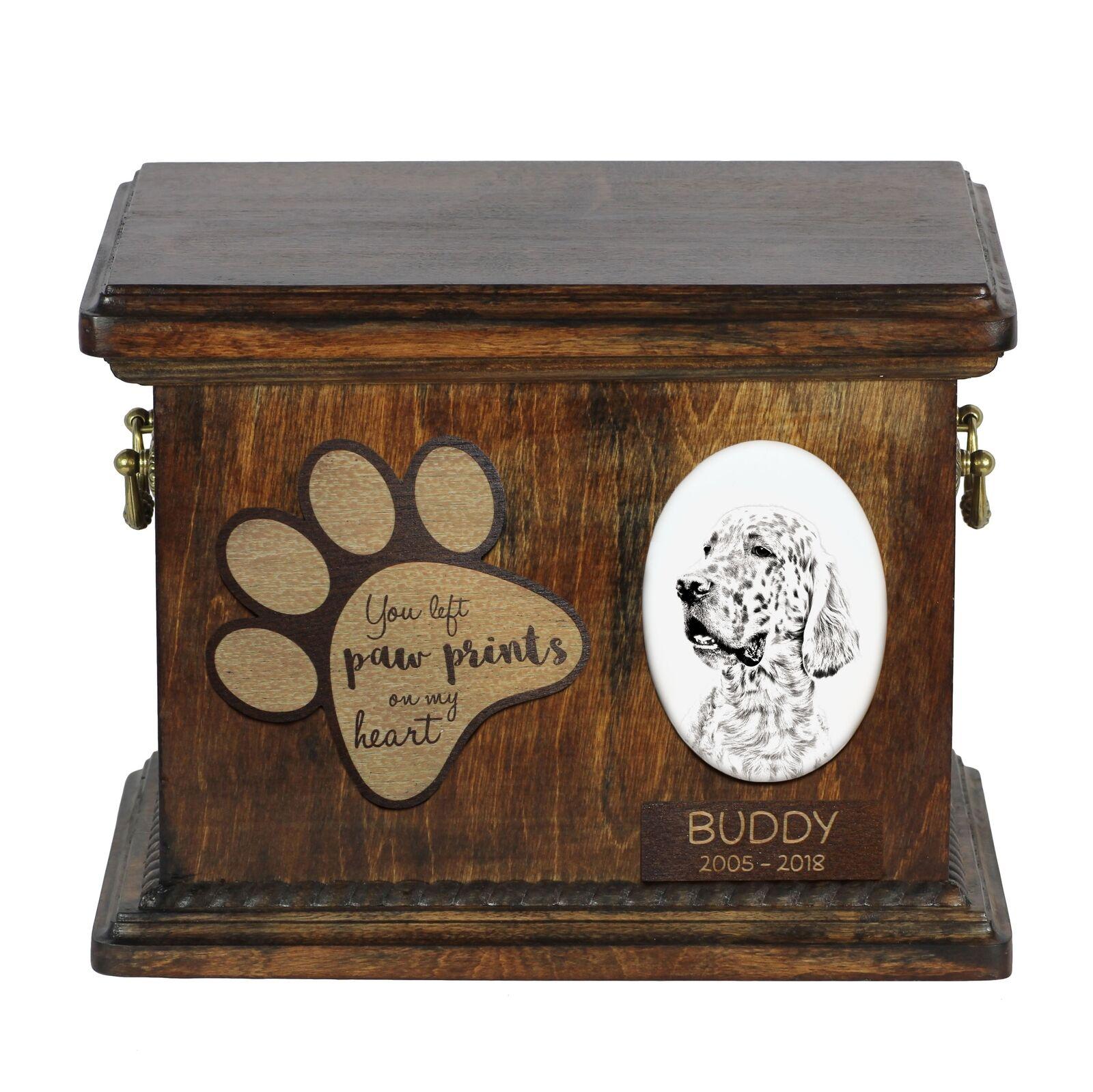 English Setter - Urna per cenere di cane con piatto in ceramica Art Dog IT