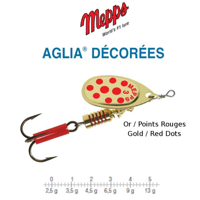 Mepps Spinner Aglia Decorees Kupfer Punkte Rot Gr.1 3,5g