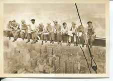 POST CARD OF IRON WORKEERS TAKING A BREAK WHILE BUILDING EMPIRE STATE BUILDING