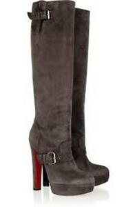 eebbcc63e9f0 Image is loading Christian-Louboutin-HARLETTY-Suede-Platform-Knee-High-Boot-