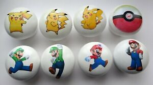 POKEMON-MARIO-LUIGI-Only-4-50-ea-Hand-Crafted-Wood-Knobs-Choice-of-15-Designs