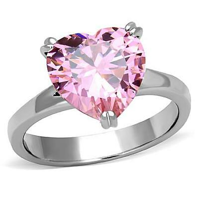 Heart CZ Ring Rose Pink 11mm Stone Engagement 316L Stainless Steel
