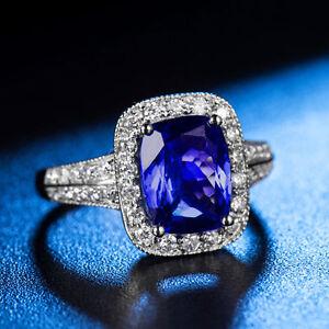 18ct-Oro-Blanco-Tanzanita-y-anillo-de-diamantes-natural-asombroso-11000-GBP