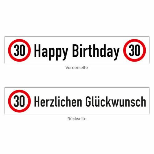 """Banner Verkehrsschild /""""30 Geburtstag/"""" 70 x 13 cm"""