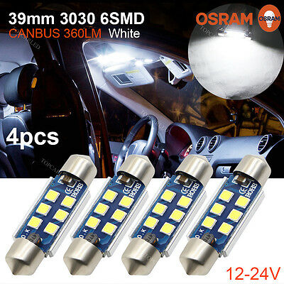 4x 39mm C5W 3030 6SMD LED Canbus No error Car Festoon License Plate Lights 360LM