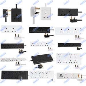 UK-Mains-Extension-Lead-Cables-1-2-3-4-6-8-10-Gang-50cm-20m-Plug-Black-White